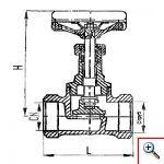 Клапан запорный муфтовый проходный сальниковый