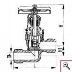 Клапан запорный штуцерный проходный сальниковый