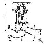 Клапан запорный фланцевый проходной сильфонный