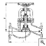Клапан запорный фланцевый проходной сальниковый